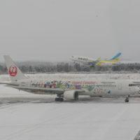 雪の帯広空港にJALディズニー35周年セレブレーションエクスプレス