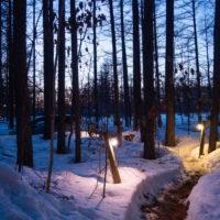 遅くなった日の入り・・夕暮れ時の光景が神秘的です。